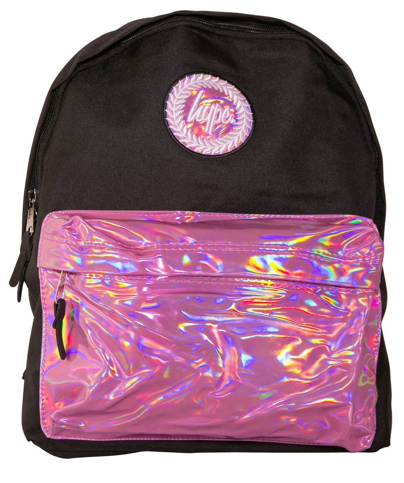 HYPE HOLO POCKET BACKPACK RUCKSACK BAG - BLACK/PINK