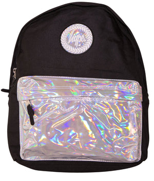 HYPE HOLO POCKET BACKPACK RUCKSACK BAG - BLACK/SILVER