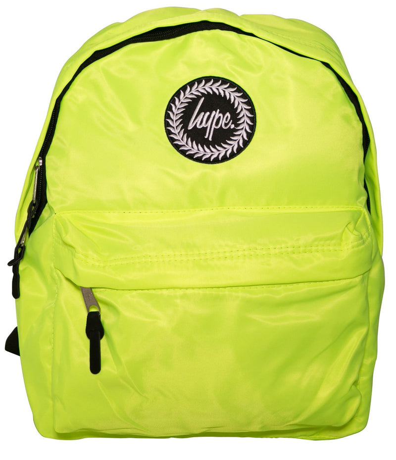 HYPE YELLOW FLURO BACKPACK RUCKSACK BAG - YELLOW
