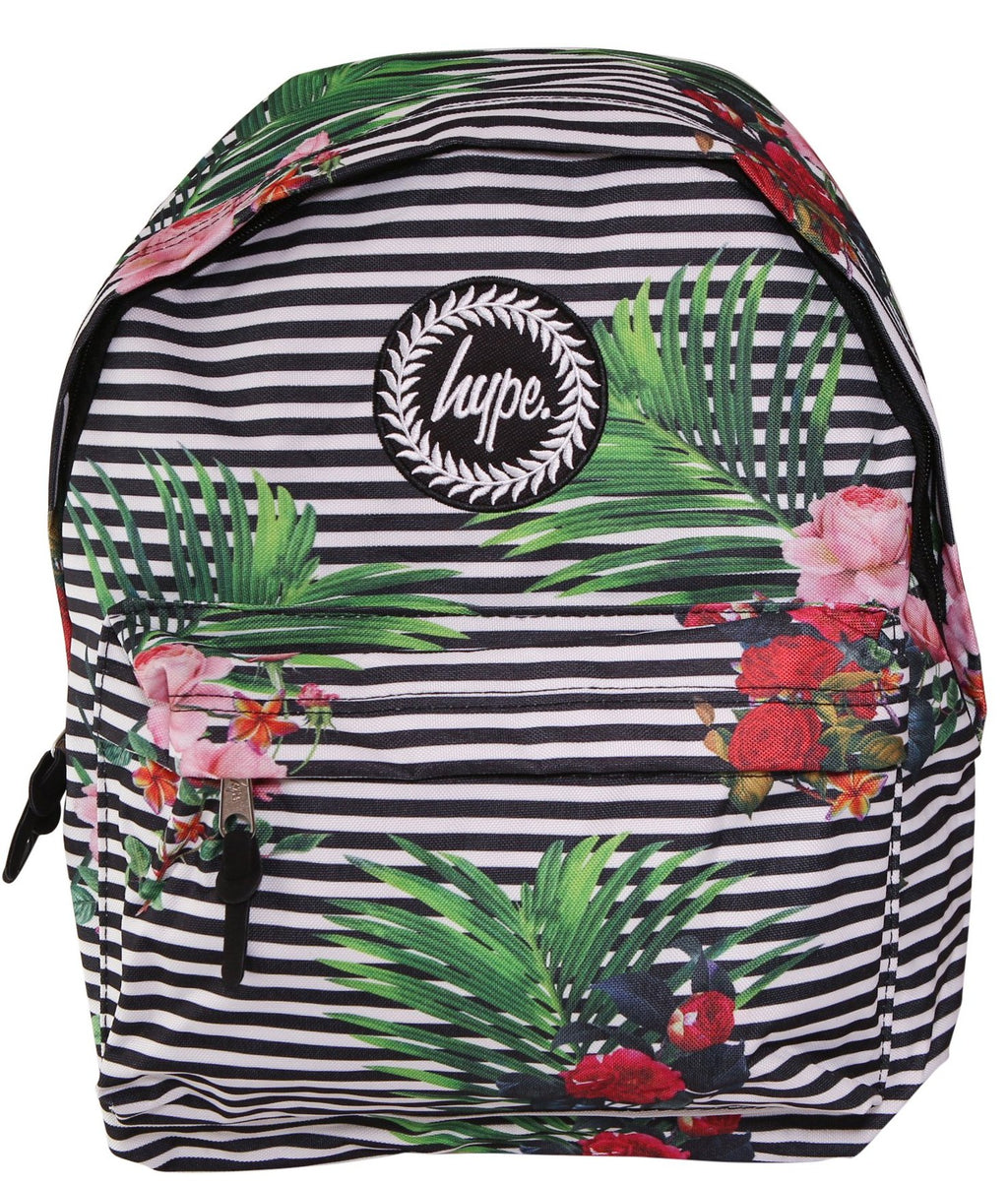 HYPE FLORAL STRIPE BACKPACK RUCKSACK BAG - BLACK/WHITE