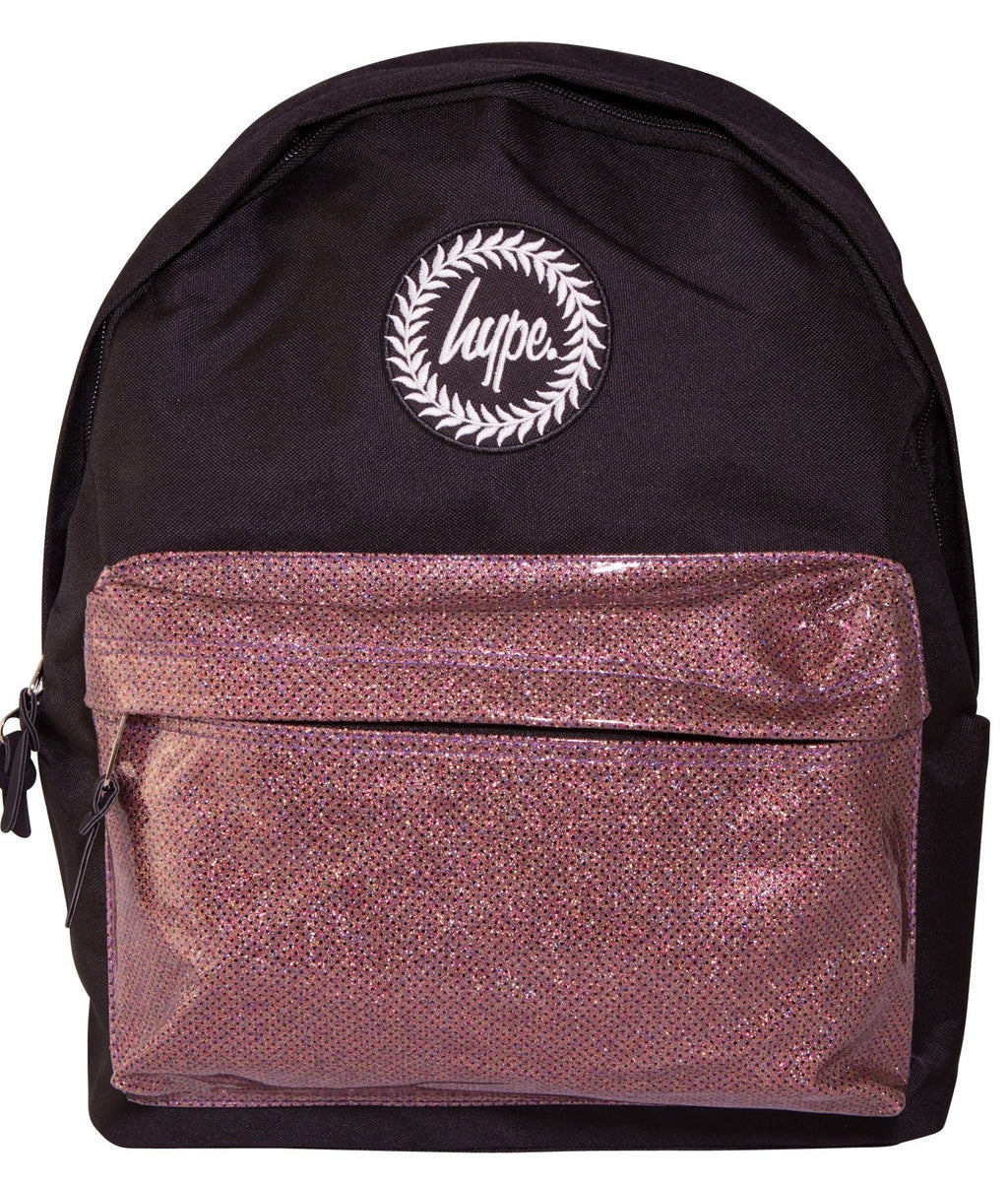 HYPE GLITTER BACKPACK RUCKSACK BAG - BLACK/PINK