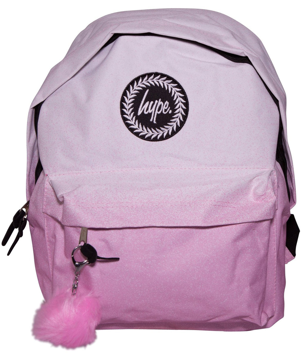 HYPE SPECKLE FADE POM BACKPACK RUCKSACK BAG - WHITE/PINK