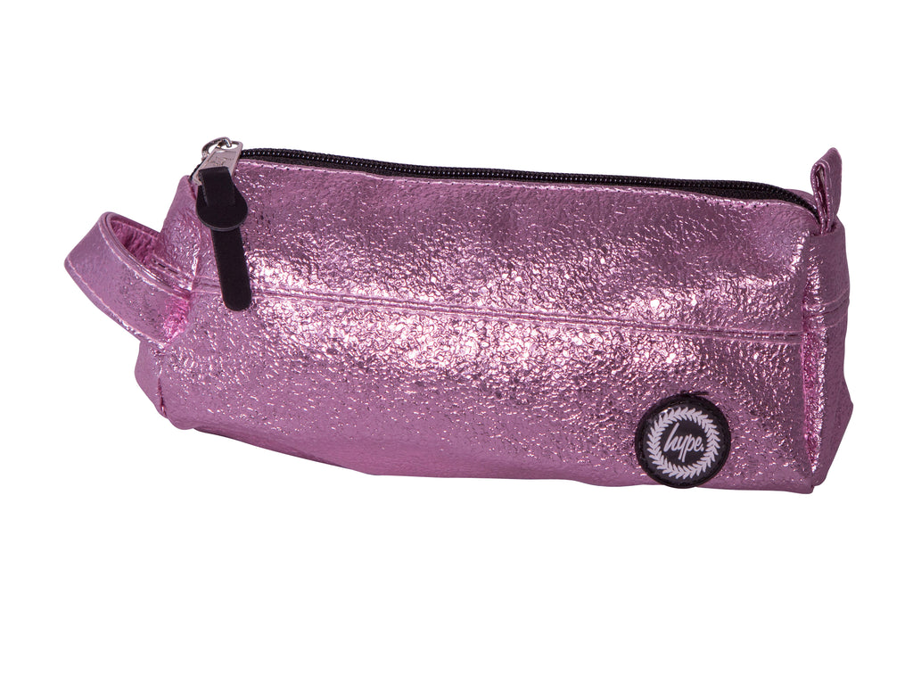 HYPE CRINKLE FOIL PENCIL CASE - PINK