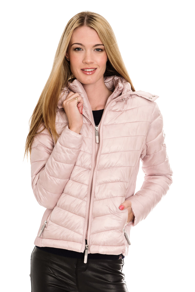 SUPERDRY HOODED LUXE CHEVRON FUJI JACKET - ROSE QUARTZ