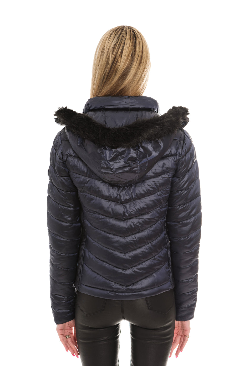 SUPERDRY HOODED LUXE CHEVRON FUJI JACKET - NAVY TANZANITE