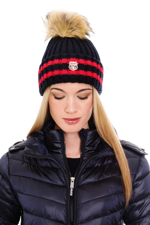 SUPERDRY AIMEE STRIPED RIBBED BEANIE - NAVY