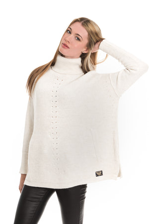 SUPERDRY MAYA RIBBED PONCHO - CREAM