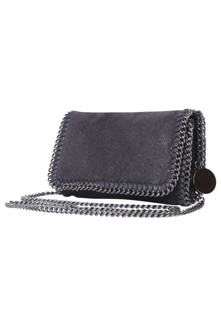 STELLA INSPIRED STYLE METALLIC FAUX SUEDE CROSS BODY MINI CLUTCH BAG - BLACK