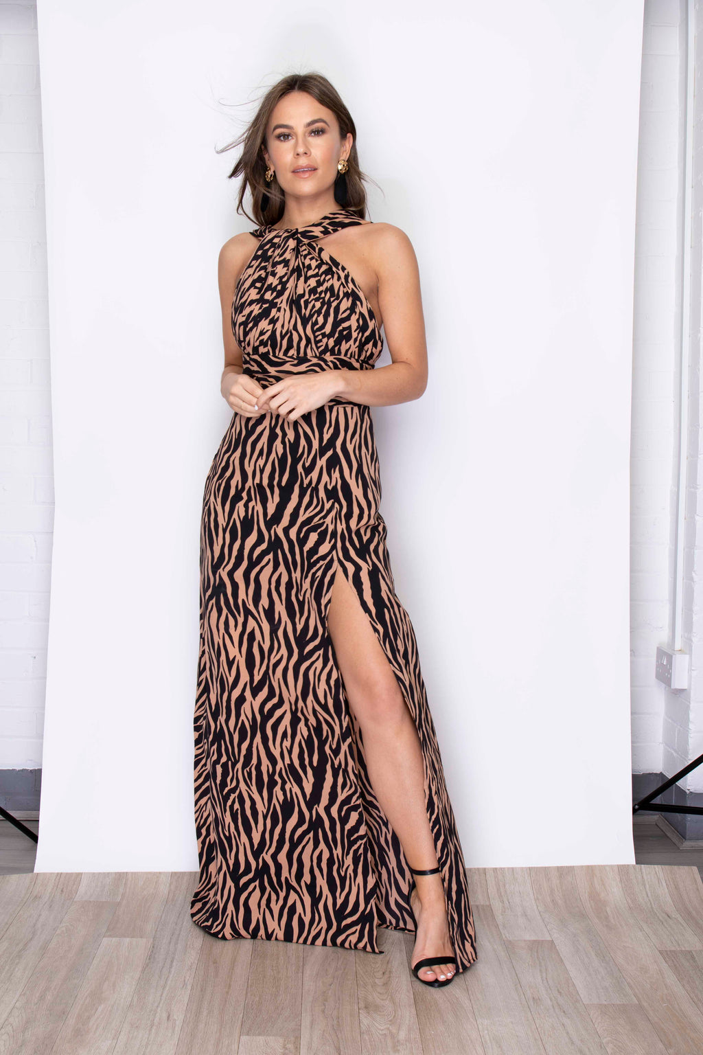 TWIST DETAIL HALTERNECK SIDE SPLIT MAXI DRESS - TIGER PRINT