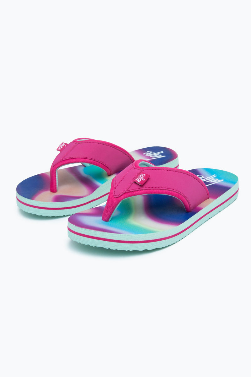 Rainbow Wave Kids Foam Flip Flops