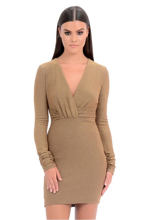 FOREVER UNIQUE ABIGAIL WRAP GLITTER DRESS - GOLD