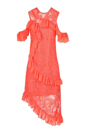 FOREVER UNIQUE U AISHA LACE MIDI DRESS - CORAL
