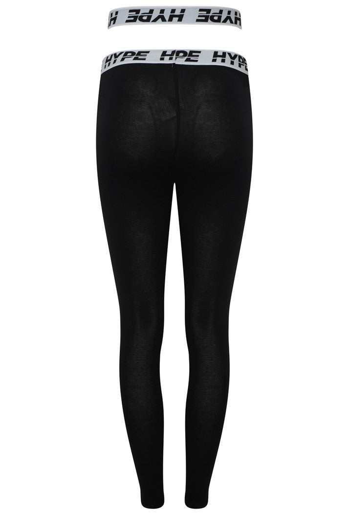 HYPE OVERLAP LEGGINGS - BLACK/WHITE