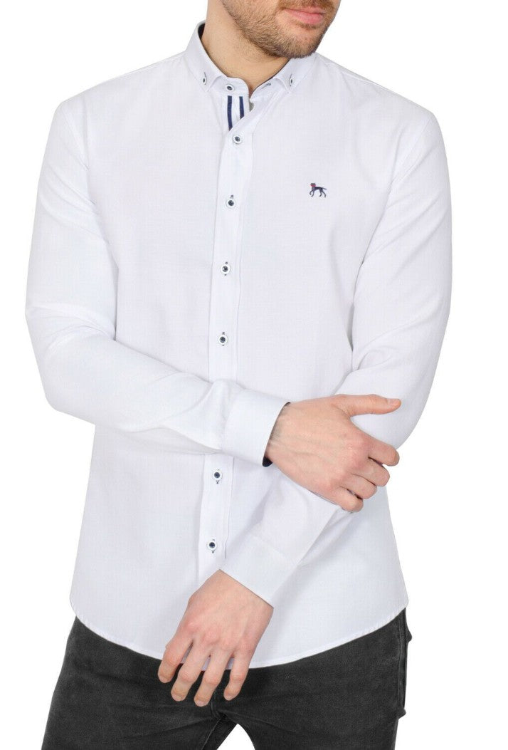 ALAND B SLIM FIT OXFORD LONG SLEEVE SHIRT - WHITE