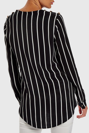 FOREVER UNIQUE ANGEL STRIPED ASYMMETRIC BLOUSE