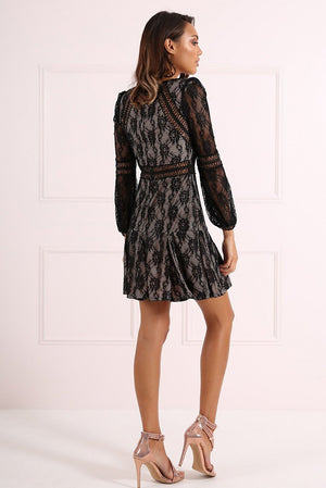 FOREVER UNIQUE TERI LACE DRESS - BLACK