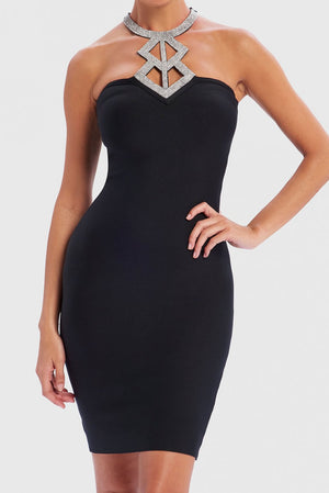 Bandage Bodycon Dress With Diamante Neckline - Black