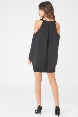 LAVISH ALICE COLD SHOULDER DRAPED CAPE MINI DRESS - BLACK