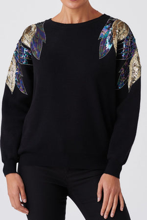 Long Sleeve Sequin Jumper - Black