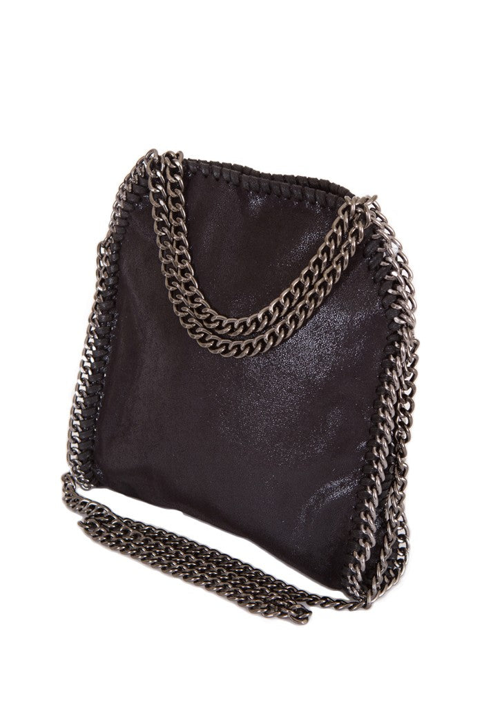 STELLA INSPIRED STYLE METALLIC FAUX SUEDE MINI TOTE BAG - BLACK