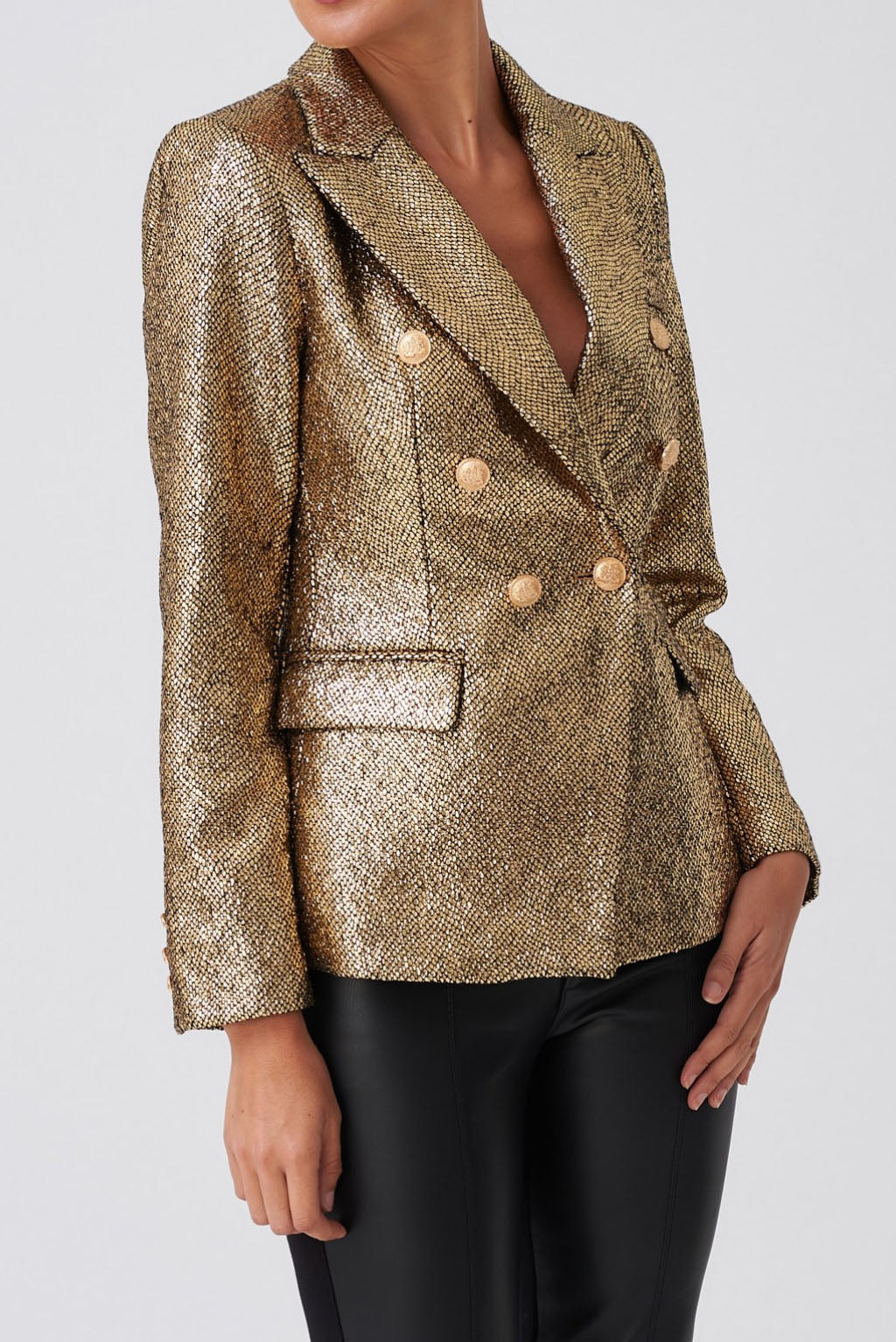 Sequined Double-Breasted Blazer - Gold