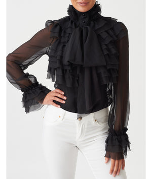 Exaggerated Ruffle Chiffon Pussybow Blouse - Black