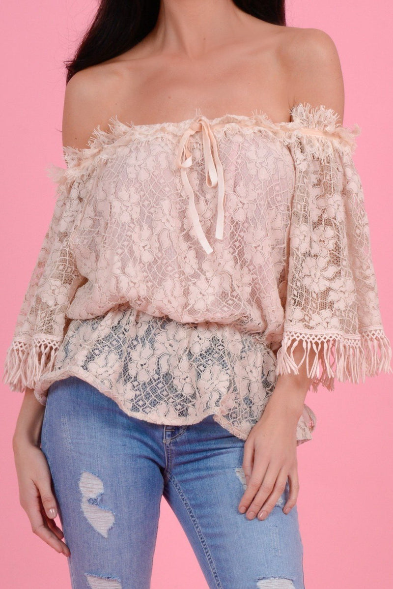 FOREVER UNIQUE U BLUSH LACE TOP - NUDE