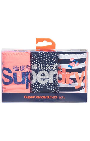 SUPERDRY SUPER STANDARD BRIEFS TRIPE PACK - CORAL STAR STRIPE