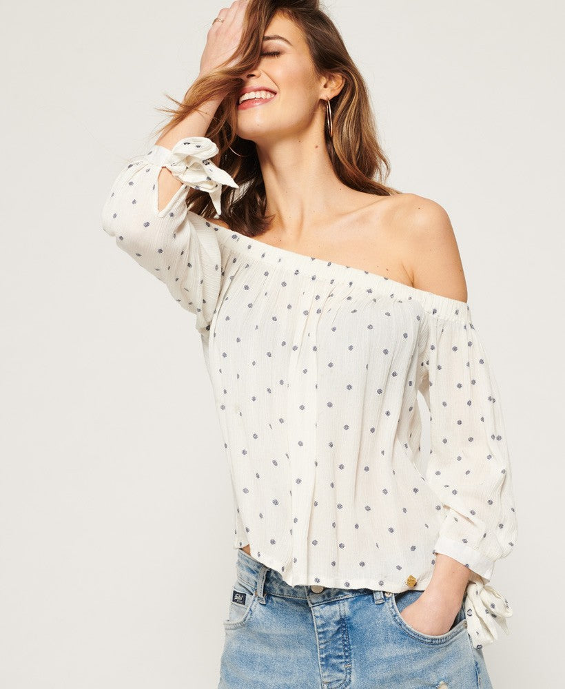 SUPERDRY BROOK OFF THE SHOULDER TOP - CREAM GEO SPOT
