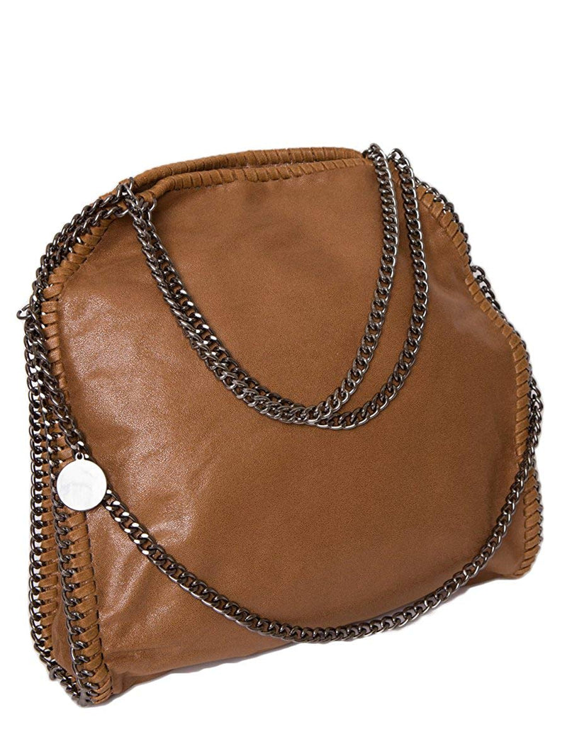 STELLA INSPIRED STYLE METALLIC FAUX SUEDE LARGE CHAIN BAG - BROWN