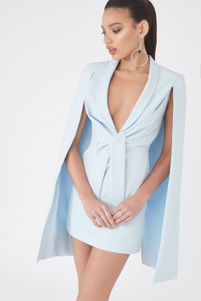 LAVISH ALICE GATHERED TIE WAIST CAPE DRESS - POWDER BLUE