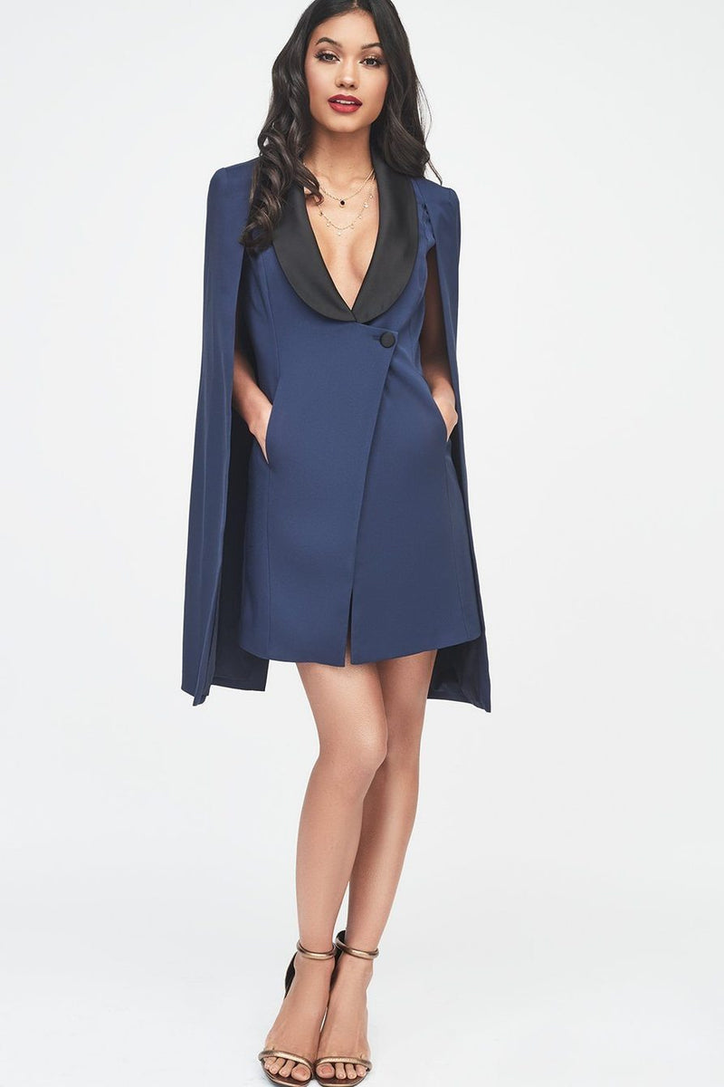 LAVISH ALICE TUXEDO CAPE DRESS WITH CONTRAST BLACK SATIN LAPEL - NAVY
