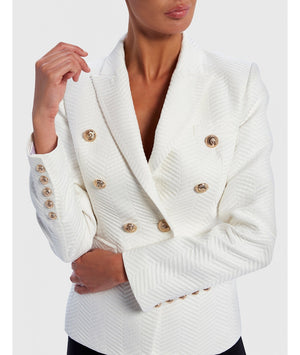 FOREVER UNIQUE CARDI CHEVRON PATTERN MILITARY BLAZER - IVORY