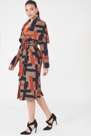 LAVISH ALICE CAPE OVERLAY WOOL COAT - MULTICOLOURED