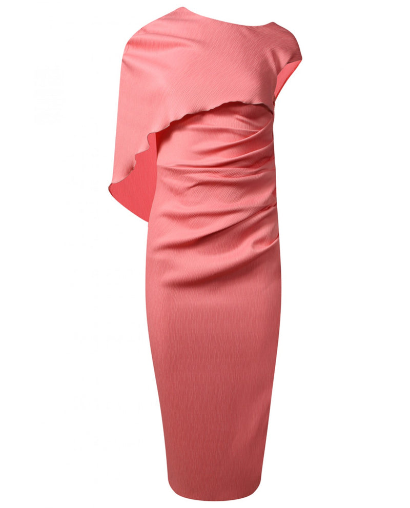 KEVAN JON CRAWFORD CAPE DRESS - CORAL