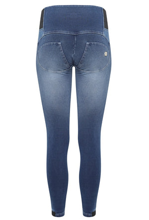 FREDDY WRUP1ZHA05E SHAPING EFFECT HIGH RISE PERMANENT CRINKLE DENIM SKINNY PANT - NAVY