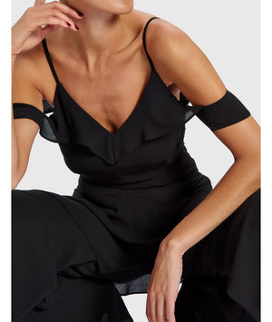 FOREVER UNIQUE DELIAH COLD SHOULDER RUFFLE JUMPSUIT - BLACK