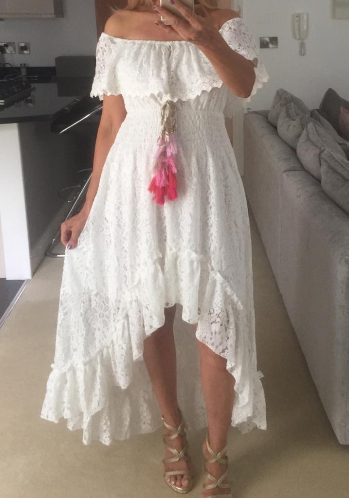 OFF THE SHOULDER LACE POM POM DRESS - WHITE