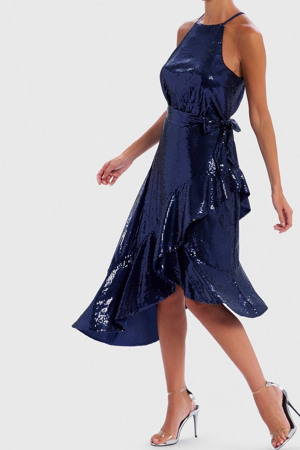FOREVER UNIQUE NAVY SEQUIN HALTER NECK MIDI DRESS