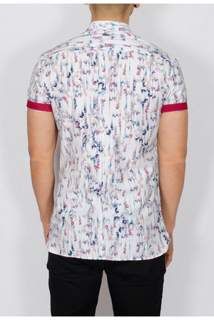 LEVINE SLIM FIT FLORAL PRINT SHORT SLEEVE SHIRT - WHITE