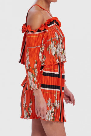 U COLLECTION FLORAL PLEATED COLD-SHOULDER BABYDOLL DRESS - CORAL SCARF PRINT