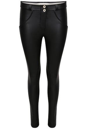 FREDDY WRUP1RC006 SHAPING EFFECT MID RISE FAUX LEATHER SKINNY PANT - BLACK