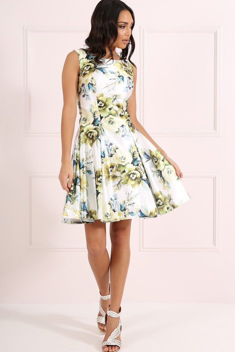 FOREVER UNIQUE SHELBY SKATER DRESS - GREEN FLORAL