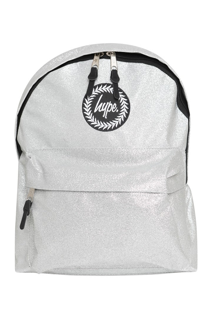 HYPE GLITTER BACKPACK RUCKSACK BAG - SILVER