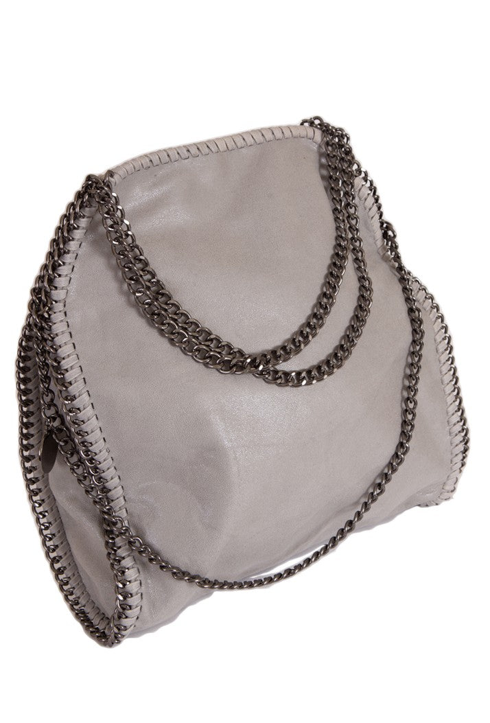 STELLA INSPIRED STYLE METALLIC FAUX SUEDE LARGE CHAIN BAG - LIGHT GREY