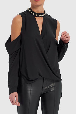Gwyn Cold-Shoulder Blouse With Pearl Choker Neckline - Black