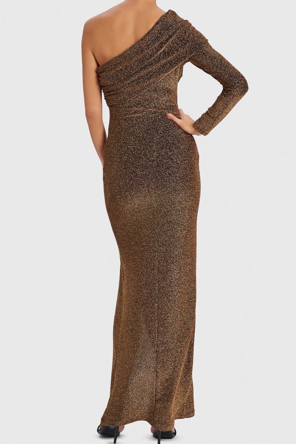 FOREVER UNIQUE HARLOW GOLD GLITTER ONE SHOULDER MAXI DRESS