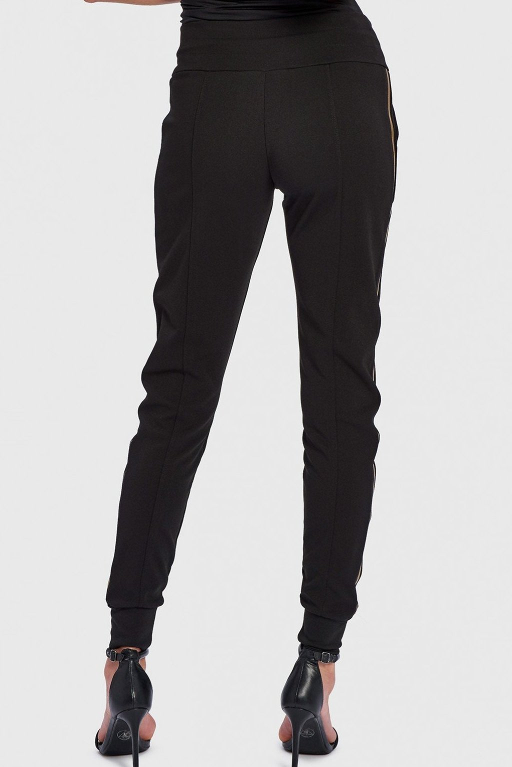FOREVER UNIQUE HEXA BLACK LOW RISE TRACK PANTS WITH GOLD SIDE STRIPE