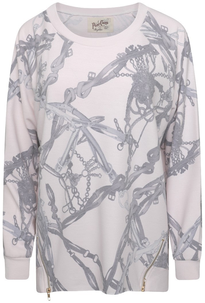A POSTCARD FROM BRIGHTON VANESSA ZIPPED SWEAT TOP - MILKY ROSE