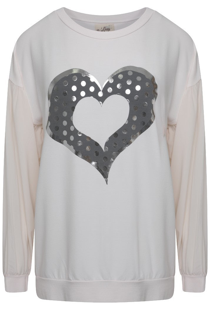 A POSTCARD FROM BRIGHTON HEART SWEAT TOP - MILKY ROSE